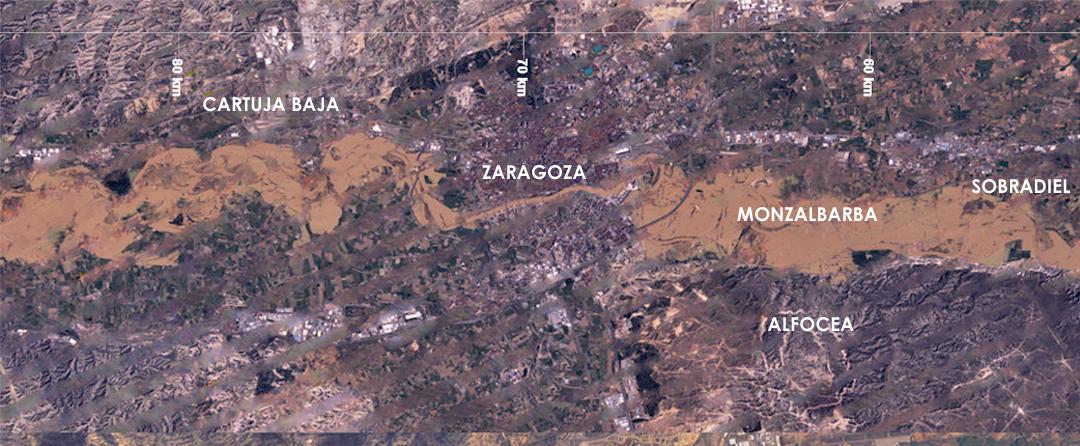 Imágen de satélite de las inundaciones del rio Ebro a su paso por zaragoza